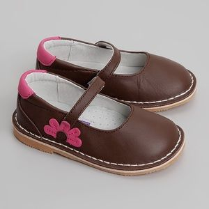 L'Amour Brown Flower Leather Mary Jane